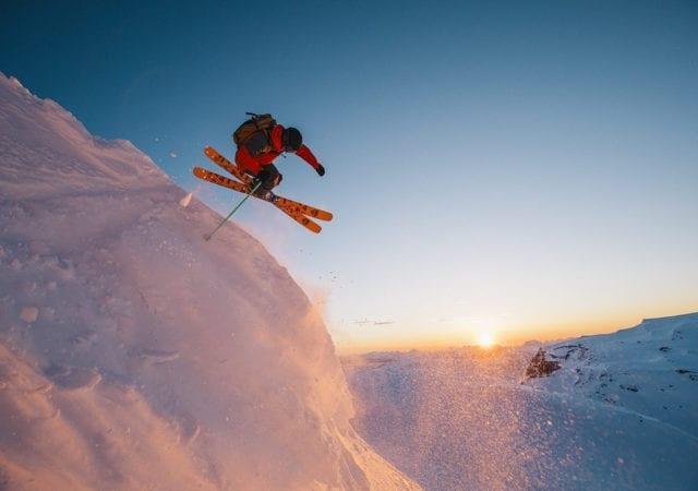 skiing cliff jumping