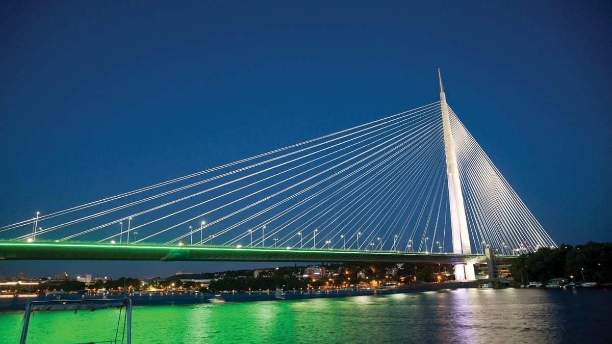 The magnificent Ada Bridge in Belgrade